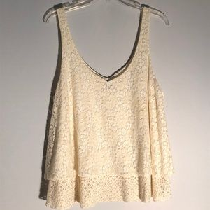 American Eagle Cream Lace Tank G22